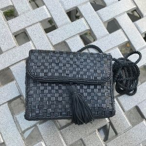Vintage Alfred Sung Black Beaded Evening Purse